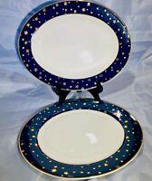 SET of 3 Lovely Galaxy Sakura Fine Porcelain Blue14K Gold Round & Oval Platters