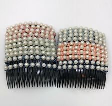 20 pcs Hair Comb Women Plastic Decorative With 20 Teeth Rhinestone Hair Side.
