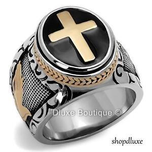 MEN'S BLACK & SILVER STAINLESS STEEL CHRISTIAN HOLY CROSS RING SIZE 8-14