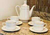 Gibson Housewares Coffeepot& Flat Handled Coffee Cup/Saucers Set of 4 Gold Trim