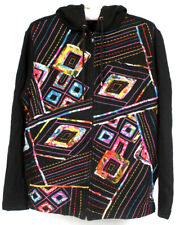 Westbound Black Colorful Knit Embroidery Hoodie Jacket Size PS SEE MEASUREMENTS