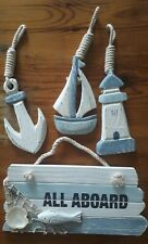 Nautical Decor Signs - All Aboard, Lighthouse, Boat and Anchor