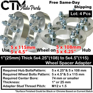 """4PC 1"""" THICK 5x4.25(108) TO 5x4.5(115) WHEEL ADAPTER SPACER FIT FORD JAGUAR MORE"""