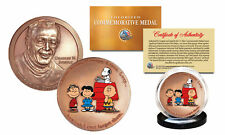 Colorized CHARLES SCHULZ Commemorative Medal PEANUTS Coin SNOOPY Charlie Brown