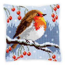 Winter Robin Chunky CrossStitch Cushion Kit Xmas Printed Tapestry CanvasCushion