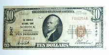 National Currency Banknote Series 1929 Norfolk Nebraska Nb $10 #3347