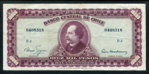 Chile 1960-1961, 10 Escudos on 10,000 Pesos, P131, VF
