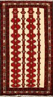 Tribal Geometric Balouch Afghan Oriental Area Rug Hand-Knotted Wool Carpet 3'x6'