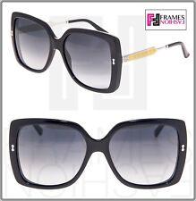 GUCCI GG3843S Shiny Black Palladium Gold Square Oversized Sunglasses 3843 Women