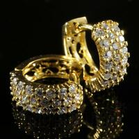 18K Gold Bling Out Iced AAA Simulate Diamond Micropave Huggie Hoop Earring H3G