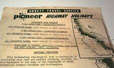 1957 ANSETT PIONEER Holidays Travel Itinerary RARE