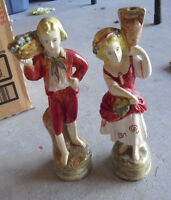"""Set of 2 Vintage 1920s Plaster Boy and Girl Figurines 9 1/2"""" Tall"""