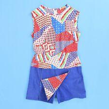 1970's Vintage Patchwork Romper Dress Skort Hippie Quilt Romper Mr. Budd Sz S 6