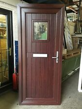 UPVC DOOR Rosewood On White 890mm Wide By 2085mm Height With Cill  (D1632)