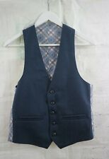 """Mens Vintage 70s Waistcoat Blue with Check Contrast Back - Small 36"""" Chest"""