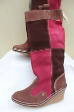 Kickers Women's Navin Suede Boot Red Brown Knee High Wedge Boots UK-3 EU 36 new