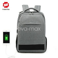 Tigernu ordinateur portable sac à dos usb charge imperméable antivol sac d'école