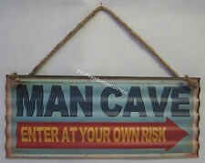 New Novelty Funny Tin Corrugated Wall Sign Man Cave Enter At Your Own Risk