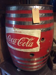 Vintage 1950's Large Coca Cola Red Oak Barrel Dispensor Coke claw feet