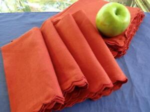 """Vintage Set 12 Unused Bloomingdale's Pure Orange Linen Autumn Napkins 15"""" Tags"""