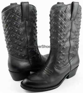 $199 LUCKY BRAND MADONNA Ash Grey Leather Designer Studded Cowboy Boots 6