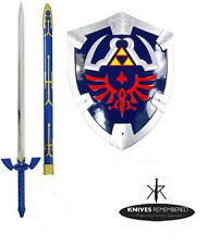 THE LEGEND OF ZELDA REAL STEEL MASTER SWORD + SHIELD SET costume link hylian