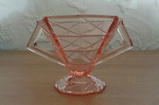 Vintage 1935 CRACKED ICE Open Sugar Bowl Depression Indiana Panel Pink Glass
