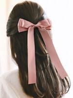 Fashion Women's Satin Hairpin Bow Ribbon Hair Clip Spring Clip Hair Accessories