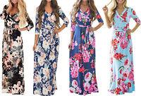 USA donna floreale stampa Mezza Manica Boho maxi abito da sera, da festa LUNGO