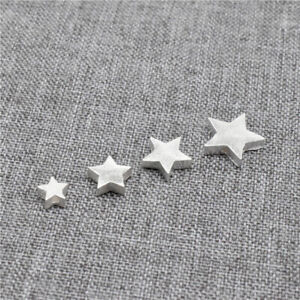 10 Sterling Silver Stardust Star Beads 925 Silver Matte Spacer Bead for Bracelet