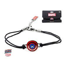 Authentic Marvel Women's Captain America Shield Logo Black Leather Cord Bracelet