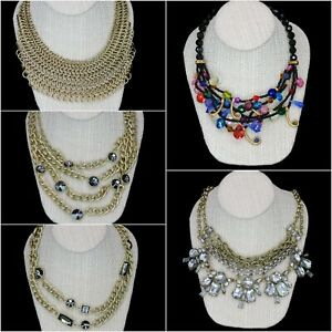 Chico's Fashion Statement Necklace Lot of 5 - Chain Link Bib, Chunky Rhinestone