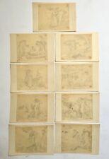 Série de 9 dessins anciens sur calque, Thème Antique, XIXe ou avant