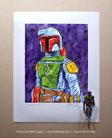 Star Wars BOBA FETT Vintage Kenner Action Figure ORIGINAL ART PRINT 3.75 Artwork