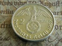 WW2 Nazi German Silver 2 Reichsmark Coin-VG+ Condition Own a piece of History