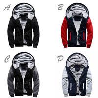 Men's Jacket Thick Warm Coat Fleece Fur Lined Hoodie Zip Up Sweatshirt Winter
