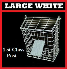 LETTERBOX CAGE Post/Door/Letter/Mail/Box/Guard Post Catcher WHITE Large