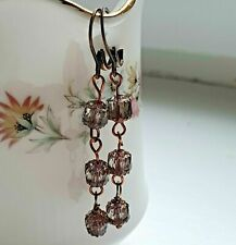 Vintage Style Grey Cathedral Bohemian Crystal Antique Copper Dangle Earrings