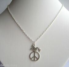 """Unity Peace & Dove Pendant Silver Plated 18"""" Chain Necklace in Gift Bag"""