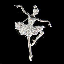 BALLERINA made with Swarovski Crystal BALLET DANCER Girl Pin Brooch Jewelry Cute