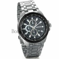 Luxury Dial Stainless Steel Business Mens Date Analog Quartz Sport Wrist Watch