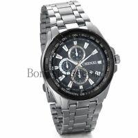 Luxury Dial Stainless Steel Business Mens Date Analog Quartz Sport Wrist Watch