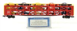 Bachmann N #46502 ATSF Santa Fe 89' TRI-LEVEL AUTO CARRIER w/ 15 AUTOS ~ S42