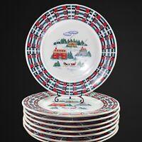 "Lynns Fine China Dinnerware 8pcs 10.5""D Dinner Plates Merry House"