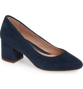 New TARYN ROSE Rochelle Suede Block Heel Pump Navy Size 9.5 M