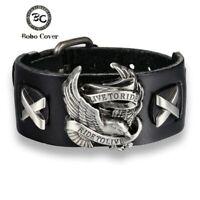Leder Armband Armreif Biker Chopper Bracelet Men Harley Eagle Live to Ride