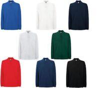 Fruit of the Loom Men's Premium Plain Long Sleeve Cotton Pique Polo Shirt Golf