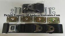 """GM Buckle Non Retractable Lap Seat Belts (2) With Retrofit Mtg Kit: Black, 74"""""""