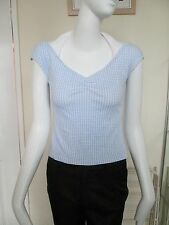 Papaya - Blue Check V-Neck Haterneck ,VEST-T-SHIRT - SIZE 8 - 100% cotton