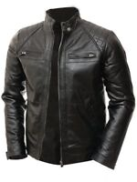 Men's Quilted Motorcycle Padded Shoulder Vintage Shade Racer Real Leather Jacket